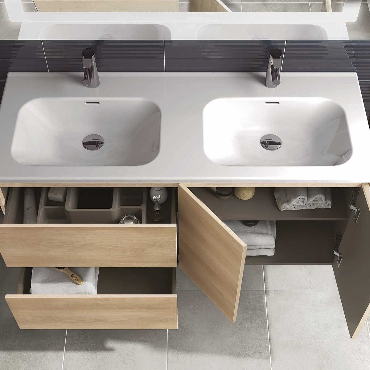 Ws Bath Collections Ambra 120dbl Pack 1 Wall Mounted Double Bathroom Vanity With Mirror Modo Bath
