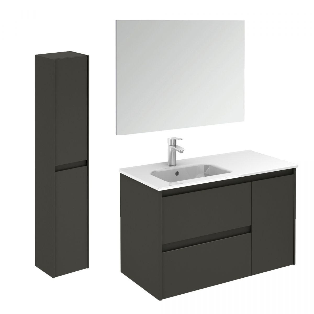 Ws Bath Collections Ambra 90 Pack 2 Wall Mounted Bathroom Vanity With Column And Mirror Modo Bath
