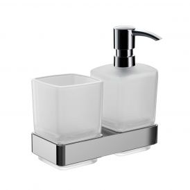 Loft 0531.001.00 Wall Mounted Tumbler / Soap Dispenser in Satin Crystal Glass
