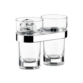 Polo 0725.001.00 Wall Mounted Double Tumbler in Clear Crystal Glass