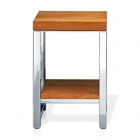 DW WO HM Wood Stool in Polished Stainless Steel