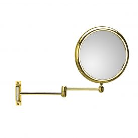 WS Bath Collections Doppiolo 40-2 Two Arm Gold Magnifying Mirror 3x