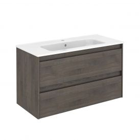 WS Bath Collections Ambra 100 Wall Mounted Bathroom Vanity in Samara Ash