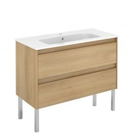 WS Bath Collections Ambra 100F Free Standing Bathroom Vanity in Nordic Oak