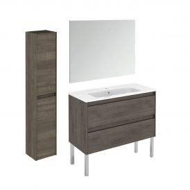 WS Bath Collections Ambra 100F Pack 2 Free Standing Bathroom Vanity with Column and Mirror