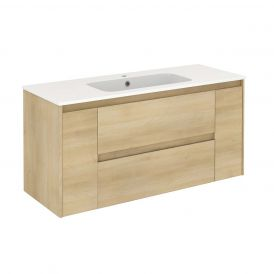 WS Bath Collections Ambra 120 Wall Mounted Bathroom Vanity in Nordic Oak