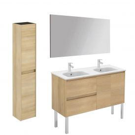WS Bath Collections Ambra 120F-DBL Pack 2 Free Standing Double Bathroom Vanity with Column and Mirror
