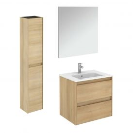 WS Bath Collections Ambra 60 Pack 2 Wall Mounted Bathroom Vanity with Column and Mirror