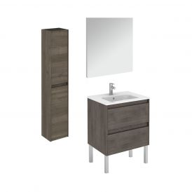 WS Bath Collections Ambra 60F Pack 2 Free Standing Bathroom Vanity with Column and Mirror