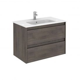 WS Bath Collections Ambra 80 Wall Mounted Bathroom Vanity in Samara Ash