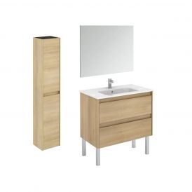 WS Bath Collections Ambra 80F Pack 2 Free Standing Bathroom Vanity with Column and Mirror