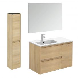 WS Bath Collections Ambra 90 Pack 2 Wall Mounted Bathroom Vanity with Column and Mirror