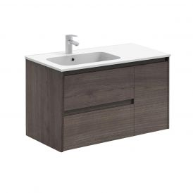 WS Bath Collections Ambra 90 Wall Mounted Bathroom Vanity in Samara Ash