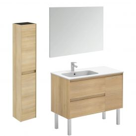 WS Bath Collections Ambra 90F Pack 2 Free Standing Bathroom Vanity with Column and Mirror
