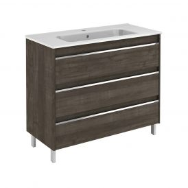 WS Bath Collections Belle 100 Free Standing Bathroom Vanity in Samara Ash