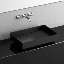 "WS Bath Collections Blade Vision Vessel Bathroom Sink in Matte Black 24.0"" x 15.7"""