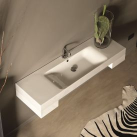 "WS Bath Collections Cento 3535 Wall Mounted/ Vessel Bathroom Sink 55.1"" x 17.7"""