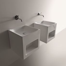 "WS Bath Collections Cento 3538 Wall Mounted Bathroom Sink 17.7"" x 17.7"""