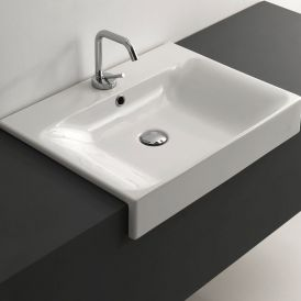 "WS Bath Collections Cento 3547 Semi-Recessed Bathroom Sink  23.6"" x 17.7"""