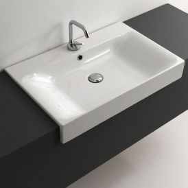 "WS Bath Collections Cento 3548 Semi-Recessed Bathroom Sink 27.6"" x 17.7"""