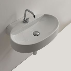 "WS Bath Collections Cento 3553 Wall Mounted / Vessel Bathroom Sink 23.6"" x 15.7"""