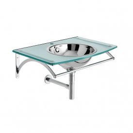 Circe 6559 Wall Mounted Glass Vanity with Metal Sink