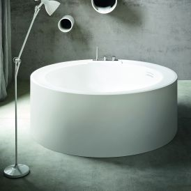 "WS Bath Collections Hole 170 Free Standing 67"" Bathtub in White Glacier"