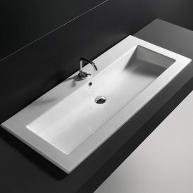 "WS Bath Collections Drop 121 Wall-Mount or Drop-in Bathroom Sink in Ceramic White 47.2"" x 20.1"""
