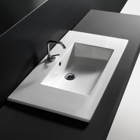 "WS Bath Collections Drop 86 Drop-in or Wall-Mount Bathroom Sink in Ceramic White 33.9"" x 20.1"""