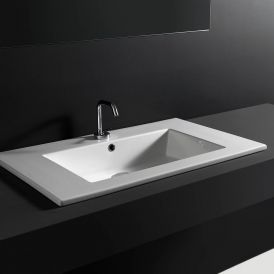 "WS Bath Collections Drop 96 Wall-Mount or Drop-in Bathroom Sink in Ceramic White 37.8"" x 20.1"""