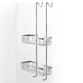 WS Bath Collections Filo 50030 Over-the-door Two-Tier Rectangular Shower Basket in Chrome
