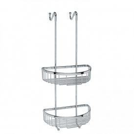 WS Bath Collections Filo 50031 Over-the-door Two-Tier Shower Basket in Polished Chrome