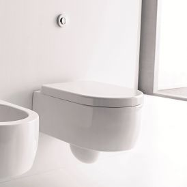WS Bath Collections Flo Wall Mounted Toilet in Ceramic White