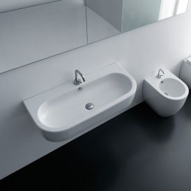 "WS Bath Collections Flo 3151 Wall Mounted / Vessel Bathroom Sink 35.4"" x 16.5"""