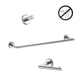 WS Bath Collections Gealuna Self-Adhesive Bathroom Accessory Set in Polished Chrome