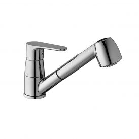 WS Bath Collections Green GR 183 Kitchen Faucet with Pull Out Hand Shower in Polished Chrome