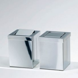 Harmony 211 Waste Basket with Revolving Cover in Polished Stainless Steel