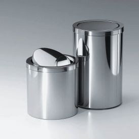 Harmony 212 Waste Basket with Revolving Cover in Polished Stainless Steel