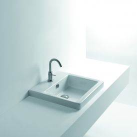 "WS Bath Collections Hox 48 Drop-In Bathroom Sink 18.9"" x 18.9"""