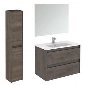WS Bath Collections Ambra 80 Pack 2 Wall Mounted Bathroom Vanity with Column and Mirror