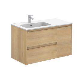 WS Bath Collections Ambra 90 Wall Mounted Bathroom Vanity in Nordic Oak