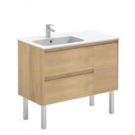 WS Bath Collections Ambra 90F Free Standing Bathroom Vanity in Nordic Oak