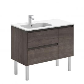 WS Bath Collections Ambra 90F Free Standing Bathroom Vanity in Samara Ash