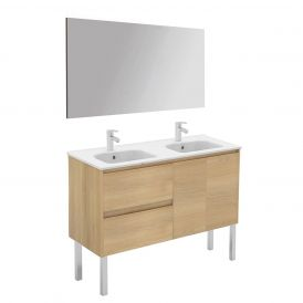 WS Bath Collections Ambra 120F-DBL Pack 1 Free Standing Double Bathroom Vanity with Mirror