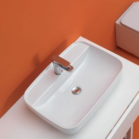 """WS Bath Collections Tribeca 5142.01 Drop-In or Vessel Bathroom Sink in White Ceramic 23.6"""""""