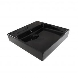 "WS Bath Collections Simple 50.50B ADA Wall Mounted / Vessel Bathroom Sink in Ceramic Glossy Black 19.7"" x 19.7"""