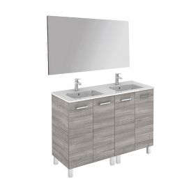 WS Bath Collections Logic 120 Free Standing Bathroom Vanity with Mirror in Sandy Grey