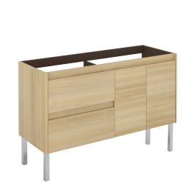 WS Bath Collections Ambra 120F DBL NO Vanity Base Unit in Nordic Oak