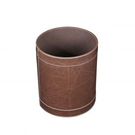 WS Bath Collections Vintage 2403 Round Leather Wastebasket