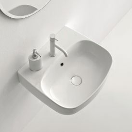 """WS Bath Collections Nolita 5340.01.01 Ceramic Wall Mounted / Vessel Bathroom Sink 19.7"""", One Faucet Hole, Glossy White"""
